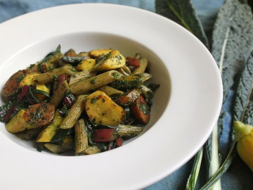 Pasta with Kale and Beet Greens Pesto, Summer Squash, Sausage & Swiss Chard