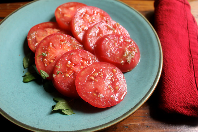 Fresh Tomatoes with Anchovy Dressing