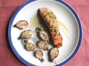 Miso-Marinated Salmon with Hakurei Turnips and Orange-Sake Butter