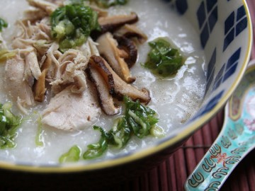 Congee with Shredded Turkey, Shiitake Mushrooms and Ginger Scallion Sauce