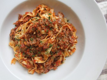 Tagliatelle with Duck Ragù and Duck Skin Cracklins