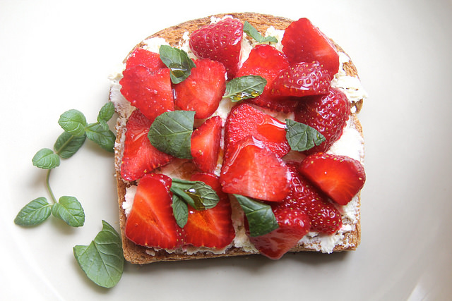 Strawberry Toast with Farmer Cheese, Mint & Hot Honey
