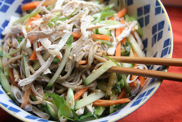 Chilled Soba Noodles with Peanut Sauce and Shredded Chicken