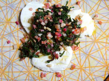 Fresh Mozzarella with Rainbow Chard, Pinenuts and Pickled Swiss Chard Stems
