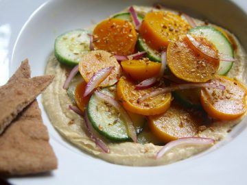 Golden Beet and Cucumber Salad with Toasted Spices, Hummus and Pita