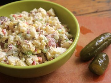 Potato Salad with Sweet Corn, Peppers & Pickles