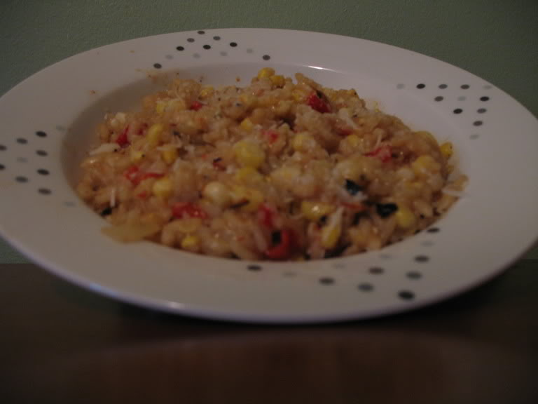 Summer Corn and Roasted Red Pepper Risotto