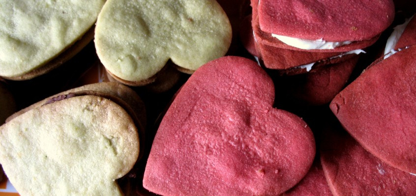 Heart Attack! Red Velvet Cream Cheese Frosting and Green Tea Red Bean Paste Valentine Sandwich Cookies