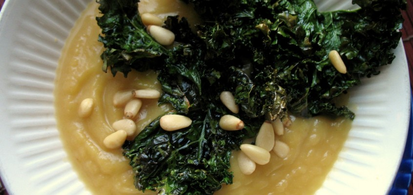 Acorn Squash Soup with Roasted Kale Chips and Pine Nuts