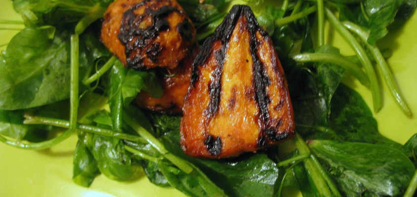 Ginger-Glazed Grilled Carrot and Pea Shoot Salad