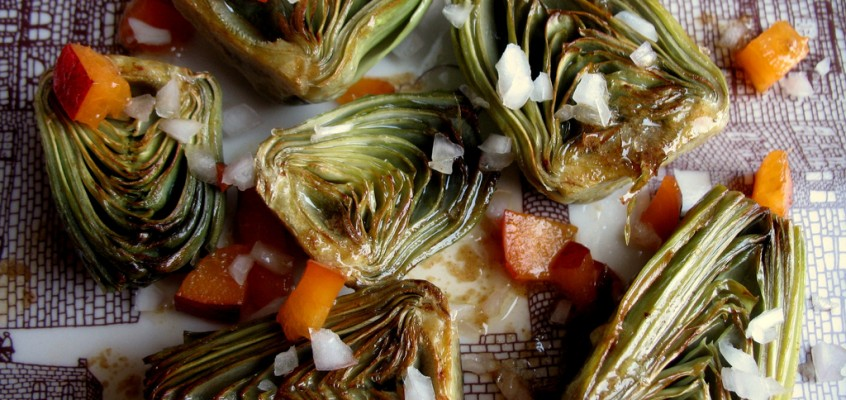 Steamed Artichokes with Lime Butter, Nectarines and Shallots