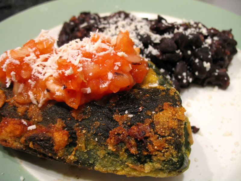 Chile Rellenos con Pollo y Patata and Roasted Tomato Salsa