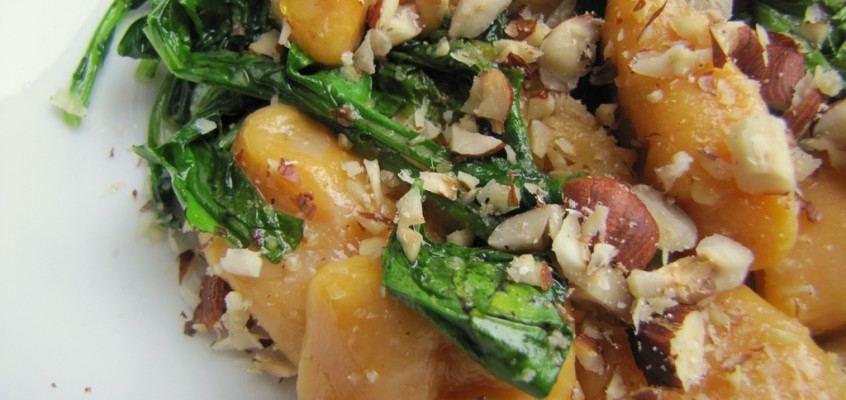 Sweet Potato Gnocchi with Arugula and Hazelnuts