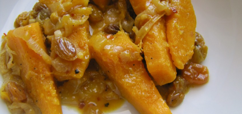 Apple Cider-Braised Kabocha Squash with Golden Raisins and Onion