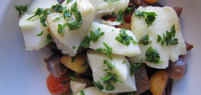 Steamed Turbot Fillets with Potatoes and Turnips