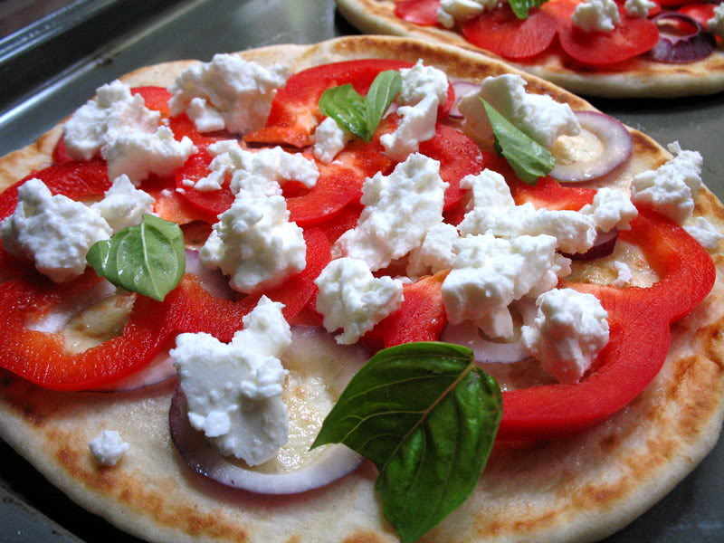 Red Pepper Pitzas with French Feta, Basil and Red Onion