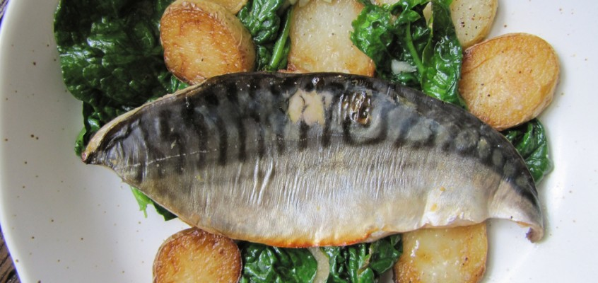 Miso Broiled Mackerel with Potatoes & Spinach