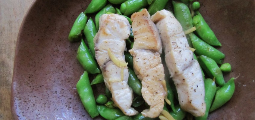 Ginger Stir-Fried Sugarsnap Peas & Fish
