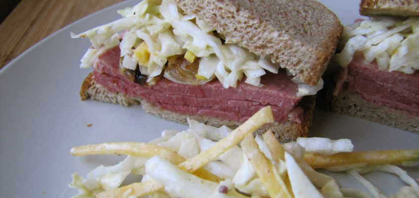 Corned Beef on Rye with Mustardy Coleslaw & Caramelized Onions