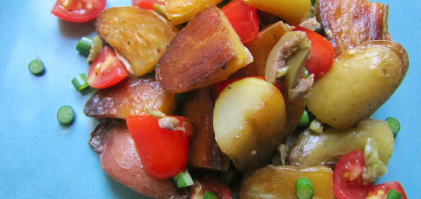 Warm Potato Salad with Tomatoes, Olives & Garlic Scapes