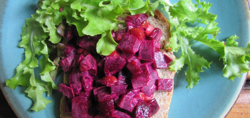 Spicy Beet Salad With Smoked Almonds on Toast
