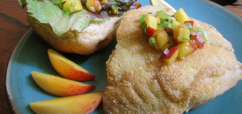 Cornmeal-Crusted Fish Sandwich with Peach & Green Tomato Salsa