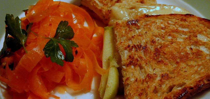 Apple Gruyere Panini and Ginger Lime Carrot Salad