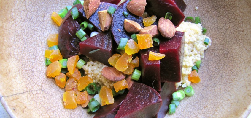 Roasted Beet & Quinoa Salad with Dried Apricots and Almonds