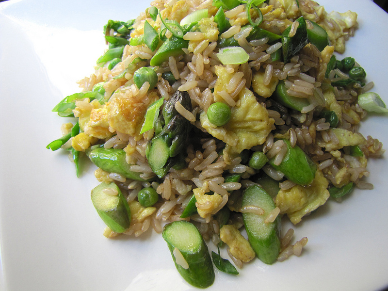 Fried Rice with Asparagus & Peas