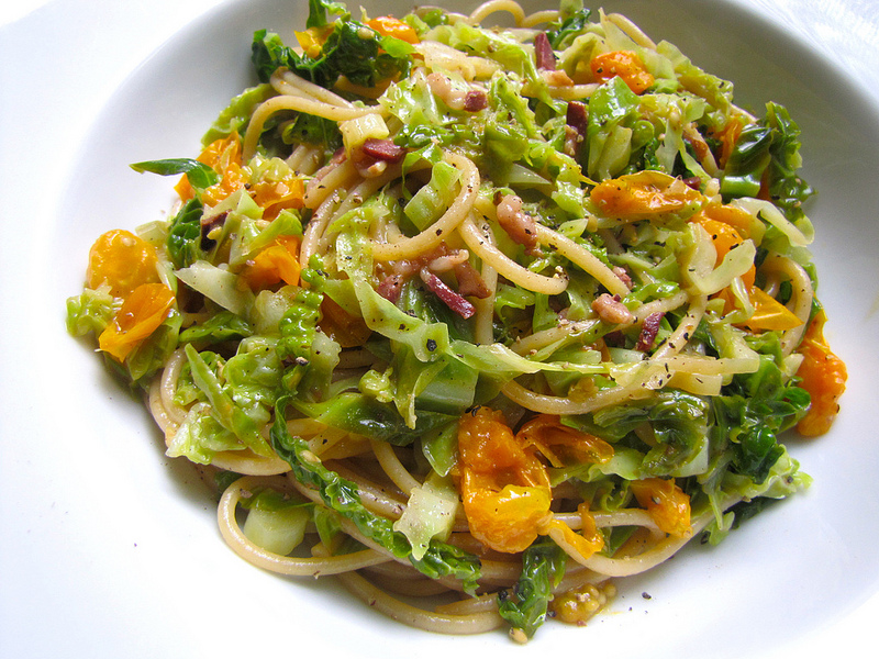 Spaghetti with Cabbage, Sungold Tomatoes and Duck Prosciutto