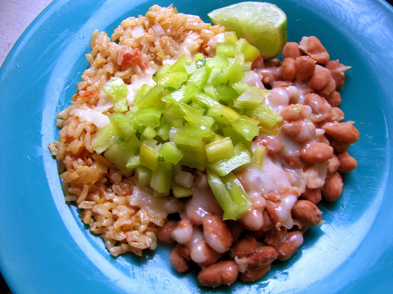 Spanish Rice with Pinto Beans & Sweet Pepper Salsa