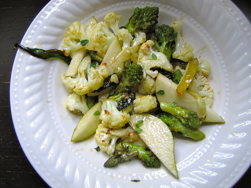 Roasted Cauliflower and Romanesco Salad with Pears and Maple Vinaigrette