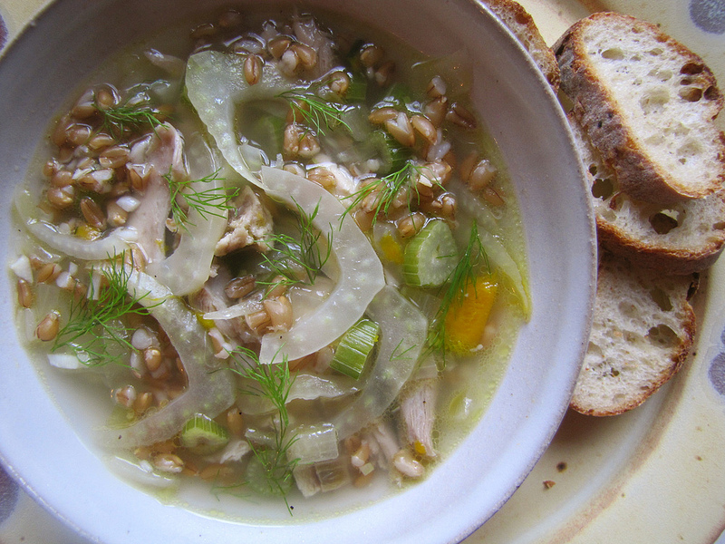 Chicken Soup with Fennel and Farro