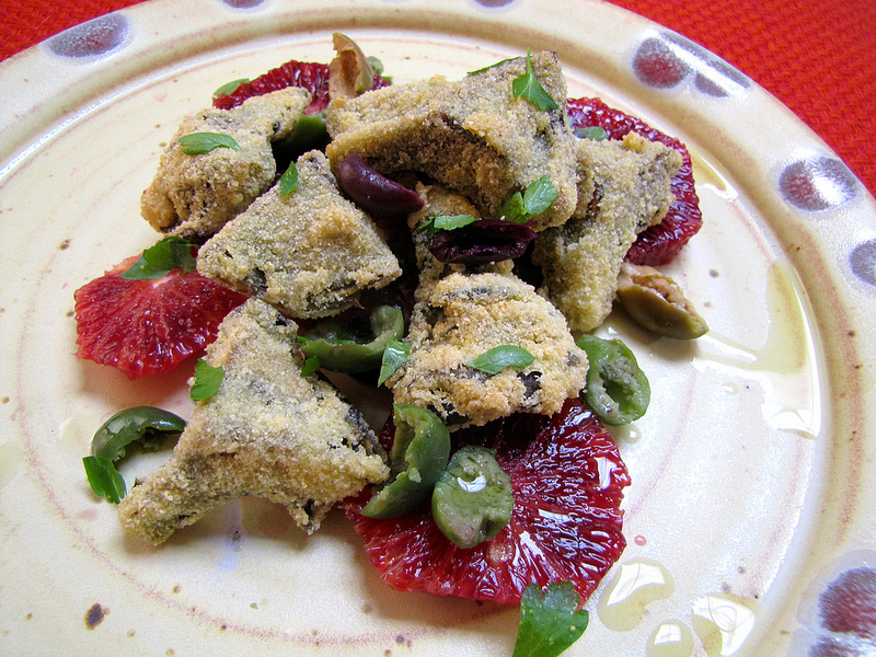 Fried Artichoke Hearts with Blood Oranges & Olives