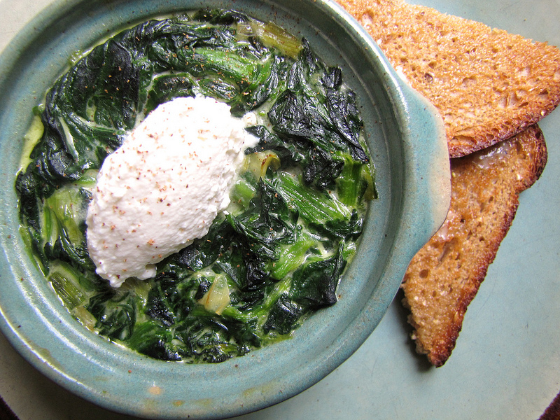 Baked Spinach and Ricotta with Toast