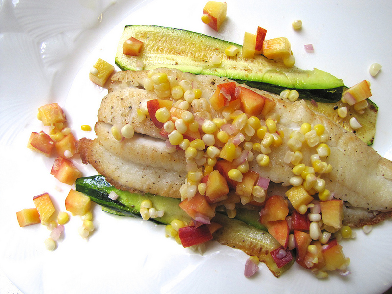 Pan-Roasted Flounder and Zucchini with Corn and Peach Salsa