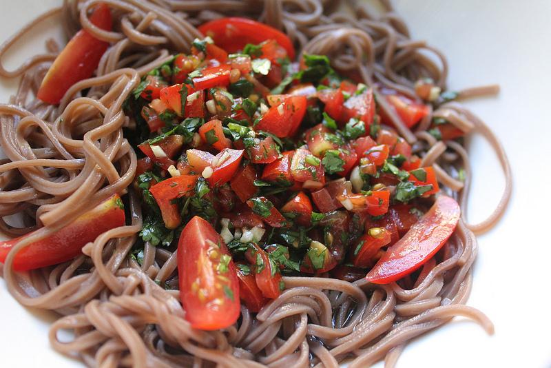 Soba Noodles with Tomato and Cilantro Vinaigrette