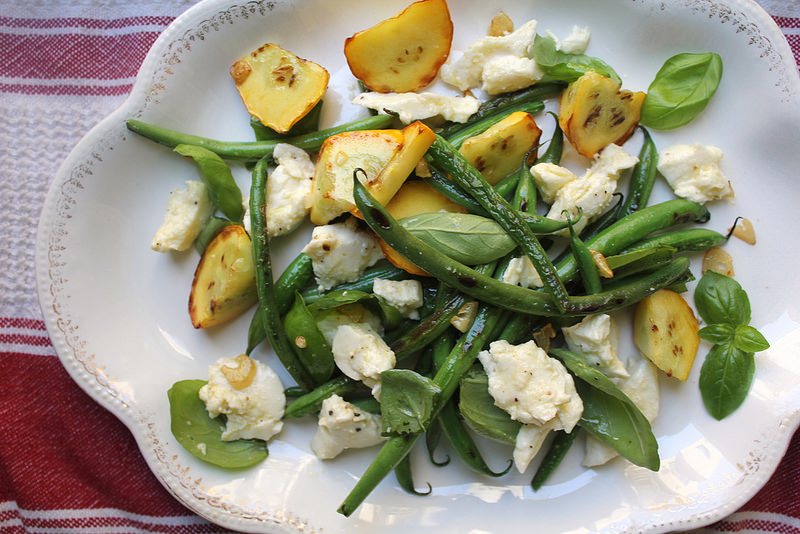 Charred Green Bean and Summer Squash Salad with Fresh Mozzarella and Basil