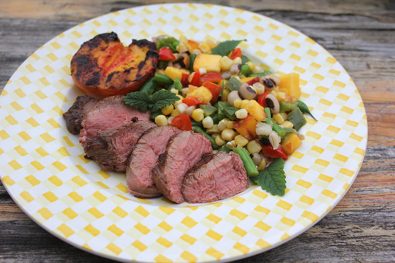 Grilled Lamb and Peaches with Peach and Green Bean Succotash