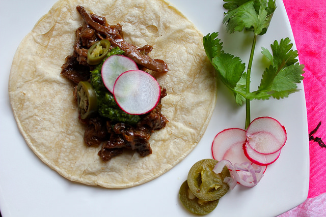 Beer-Braised Duck Tacos with Cilantro Sauce