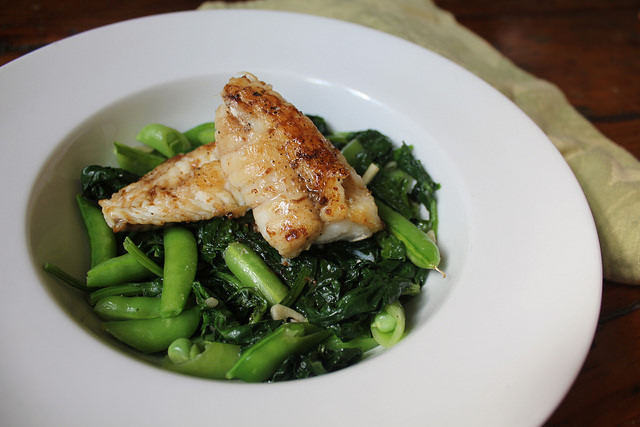 Pan-Roasted Monkfish with Spinach, Snap Peas and White Wine Sauce