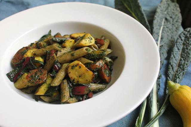 Pasta with Kale and Beet Greens Pesto, Summer Squash, Sausage & Swiss Chard