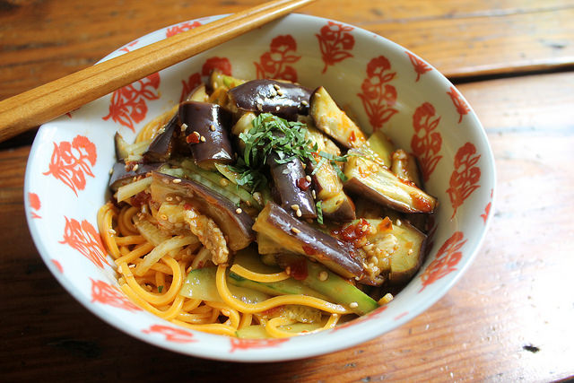 Cold Noodles with Spicy Eggplant and Cucumber Salad