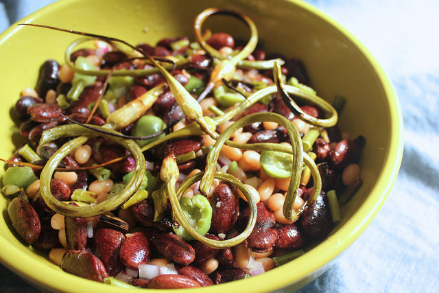 Heirloom Bean Salad with Roasted Garlic Scapes