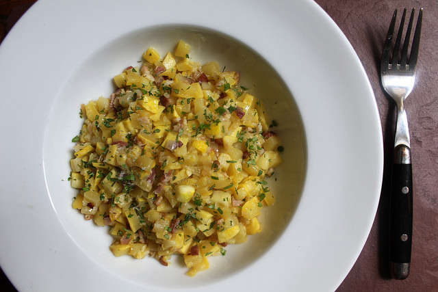 "Summer Squash ""Risotto"" with Bacon and Shallot"