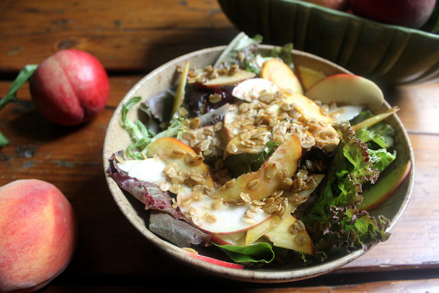 Peachy Salad with Savory Toasted Oats