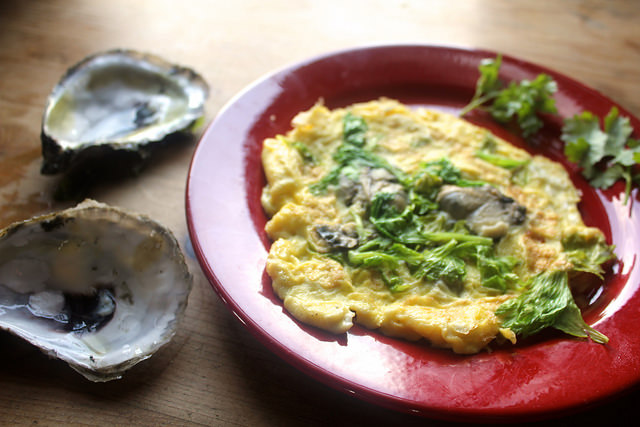 Oyster Omelet with Celery Leaves
