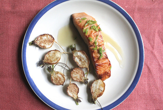 Miso-Marinated Salmon with Hakurei Turnips and Orange-Sake Butter
