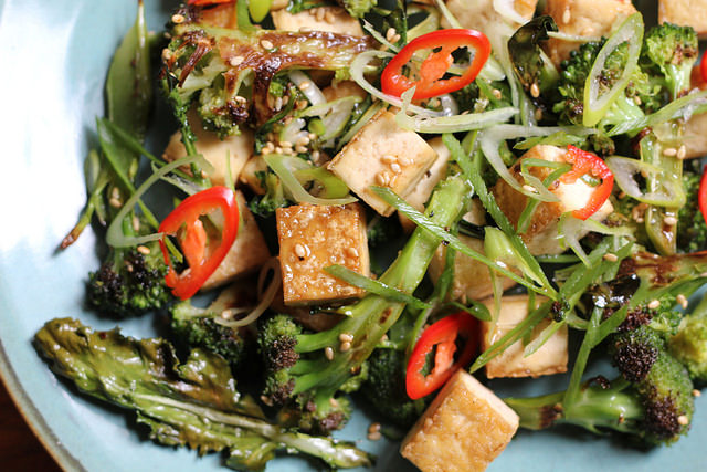 Roasted Broccoli and Crispy Tofu Salad