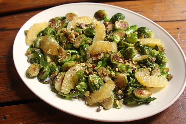 Roasted Brussels Sprouts with Oranges, Pistachios and Pomegranate Molasses